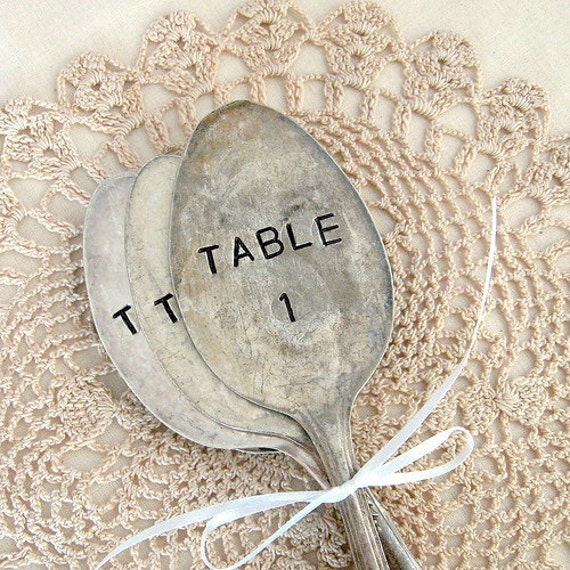 TABLE 21, TABLE 22, TABLE 23 - antique spoon table markers