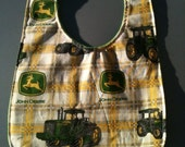 John Deere Baby Bib backed with Solid Flannel