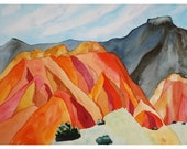 original landscape painting, Pedernal Patterns, New Mexico, watercolor on paper