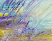 SALE abstract painting in purple, lilac, yellow and aqua, titled spring rain, framed