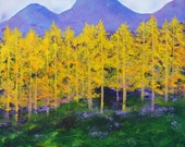 Painting, Mountain Aspens, purple and gold