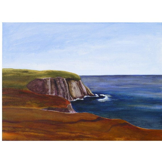 maine painting, monhegan island, the bluffs, original art, maine landscape, framed, FREE SHIPPING