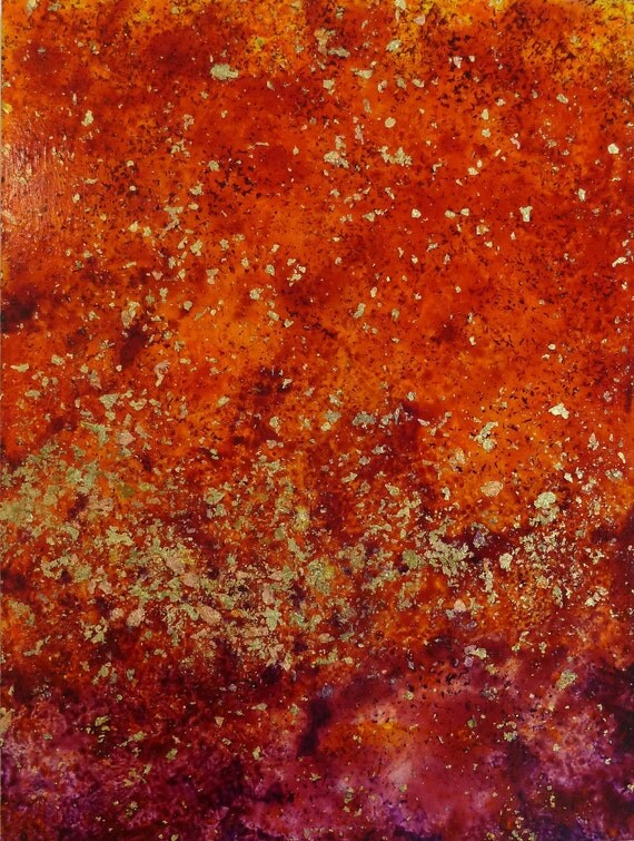 abstract painting, tangerine red and purple with gold, bronze and copper leaf, titled rupture ix