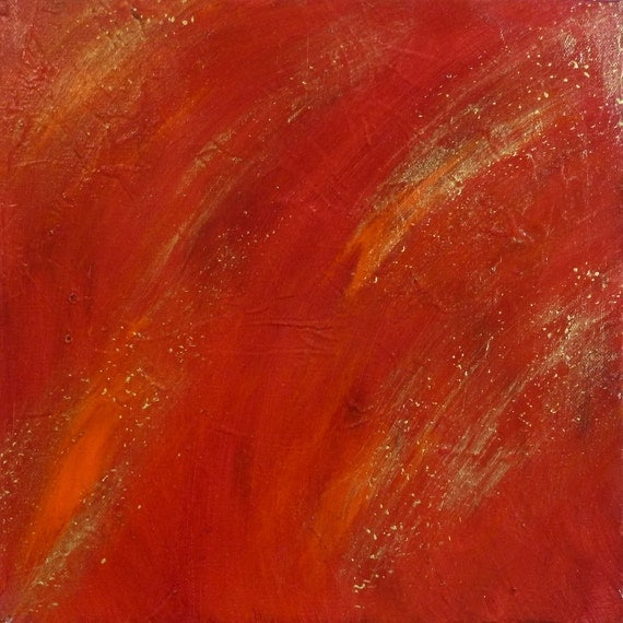 abstract painting, garnet red and gold, titled flaming stars