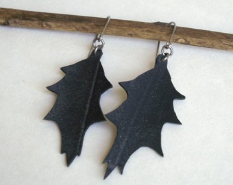 Sale Holly Earrings, hand cut upcycled bicycle inner tube
