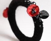 Crimson Poppy Bangle (in black) -- Made to Order