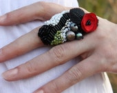 Felted and Beaded Couture Statement Ring CRIMSON POPPY