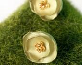 Petite Blossom Studs -- PISTACHIO -- Fabric Flower Earring Posts