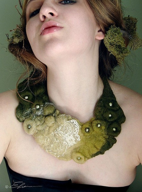 Felted Eco Fashion Collar DEEP FOREST (Made to Order) -- Wearable Art in Harmony With Nature