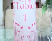 Pink Heart Vellum Table Number Luminaries