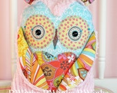 Stuffed Owl - Owl Pillow friend stuffed owl pillow - Pink Chenille Girl Owl Plush Owl Decor - Girly Sky