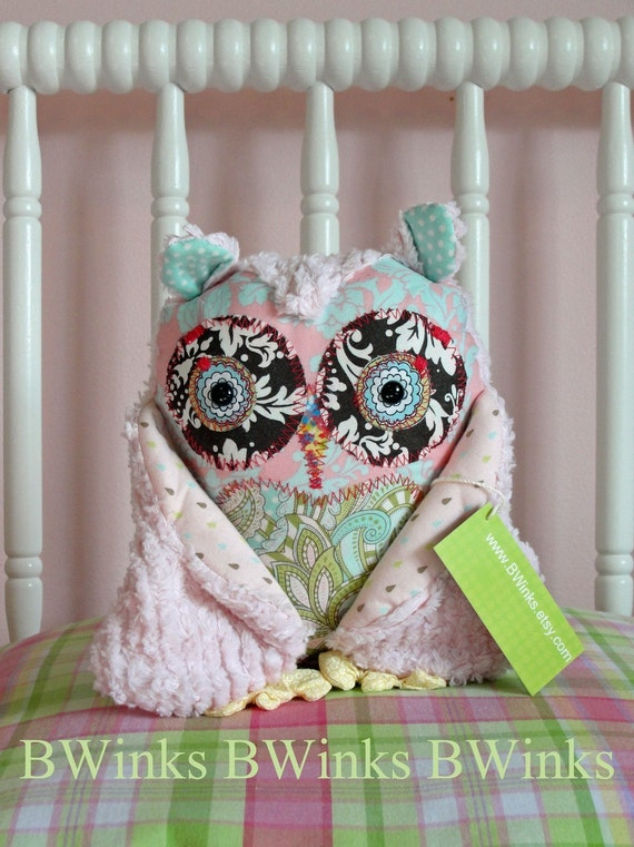 Stuffed Owl Pillow - Petite Light Pink - LAST ONE