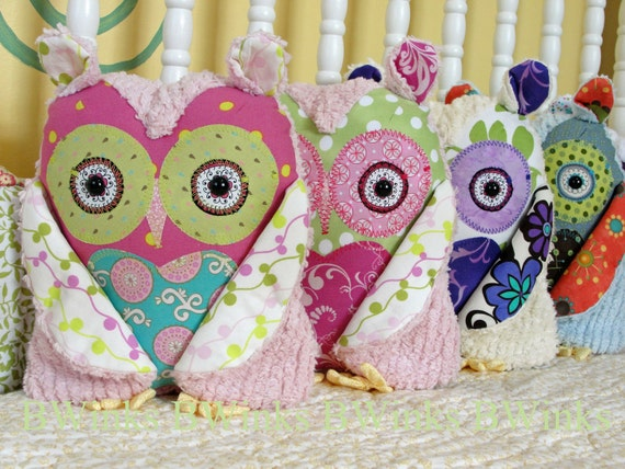 Medium BWinks' Stuffed Owl Pillow for girls room decor stuffed friend owl pink Aqua and chartreuse lily - Limited II