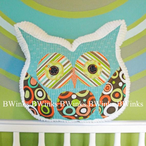 Owl Pillow Stuffed Owl - Bedroom Decor Pillow - No. 1 - Turquoise Blue Lagoon