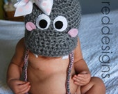 Hippo crocheted hat, with Felt & Flannel Accents, Custom Made to Order