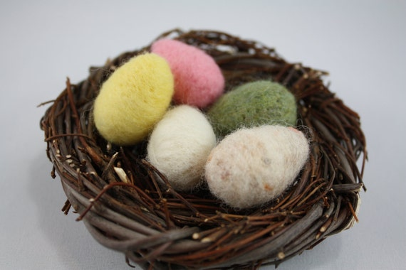 Grapevine nest and wool felted little eggs set of 5  Natural decoration