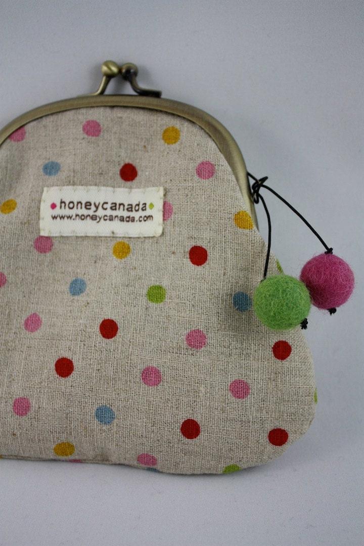 Cotton linen polka dot pouch with felt balls by honeycanada for Polka dot felt fabric