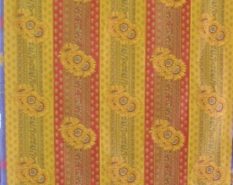 Quilt - Provincial Red and Yellow Strippy Sunflowers - Complete Single Bed Quilt.