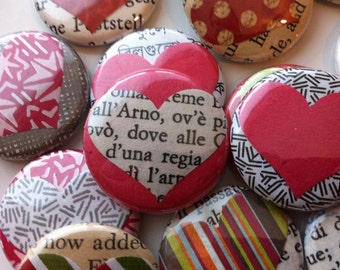 Heart Collage Button Set - 4 Buttons