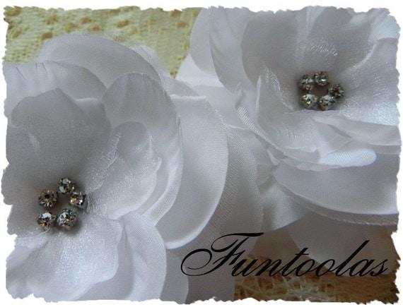 Samantha - 3 1/2 inch Silk Organza Flower White Set of 2