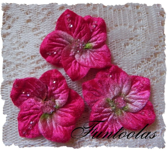 Vanessa - 2 inch Sequined Velvet Flower Fuchsia Set of 3