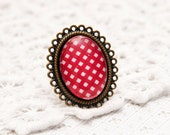 Red and White plaid pattern RING - Adjustable