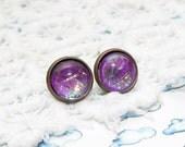 Do you lilac it - Purple Sparkly Glitter Metallic Stud Earrings - (G1011)