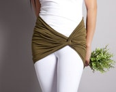 Olive Green Cover up Skirt for Leggings // Tube Bra Top // Belt or Scarf // MIRACLE TWIST// Size XLarge // Jersey