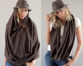 5 in 1 Chunky Infinity Scarf Brown Angora Jersey  Circle Scarf, Winter Scarf, Wrap Skirt, Tube Scarf, Loop Scarf, Eternity Scarf