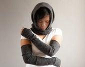 Long Full Arm Gloves in Charcoal Grey, Gray, Black,  Long Winter Gloves Fingerless
