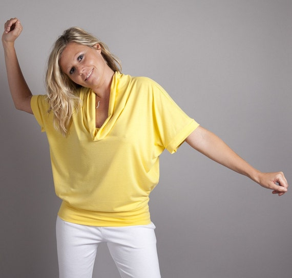 Reserved for M, Sunshine Yellow Cowl Neck Top - Oversized, Short or Long Sleeved - Perfect for Early Maternity -