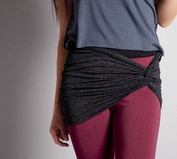 ON SALE-Charcoal Black Leggings Cover Up-Bandeau Bra Top- Twisted Tube Bra-Tube Scarf-Size XLarge