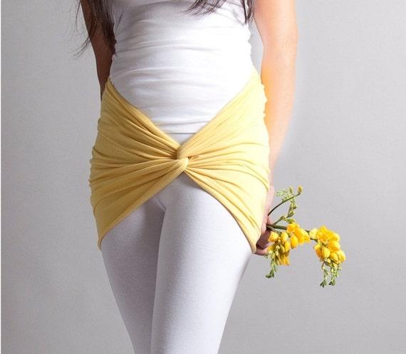 Sunshine Yellow Bandeau Tube top, Scarf, Cover up for leggings, pastel spring fashion, Size Medium TWIST
