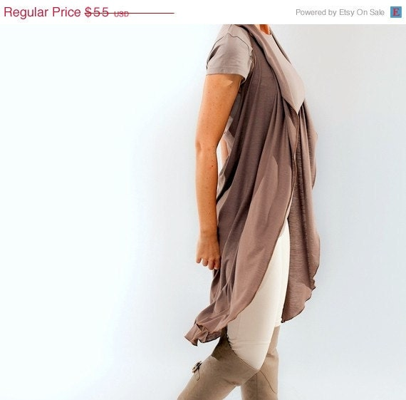 40% off- Moving SALE // Taupe Long Flowy Halter Cape Cardigan // Size  XSmall - Small - cij