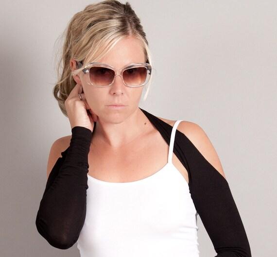 Black Arm Warmers, Suspender Sleeves, Size Medium, Yoga wear, Dance, Pilates, Ballet