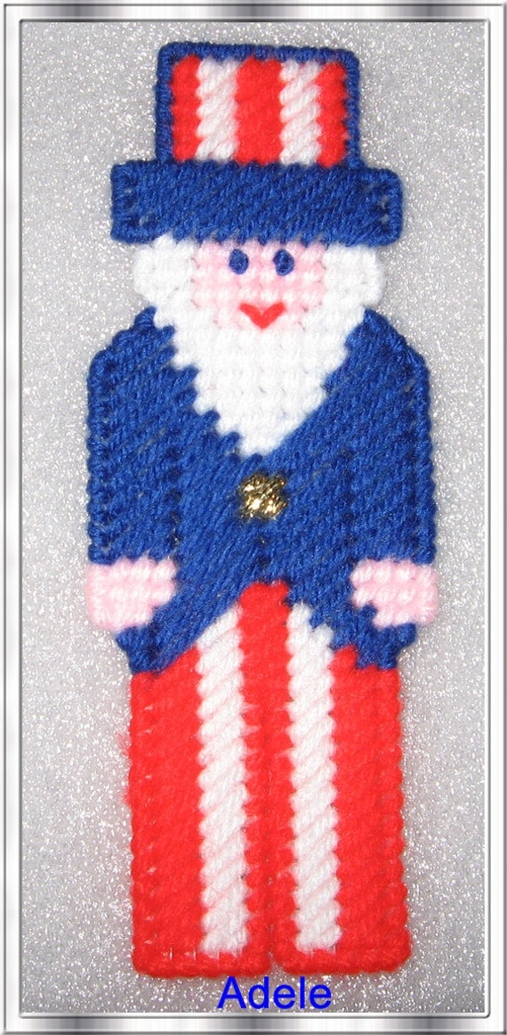 Plastic Canvas Handmade Uncle Sam use as Magnet or Ornament