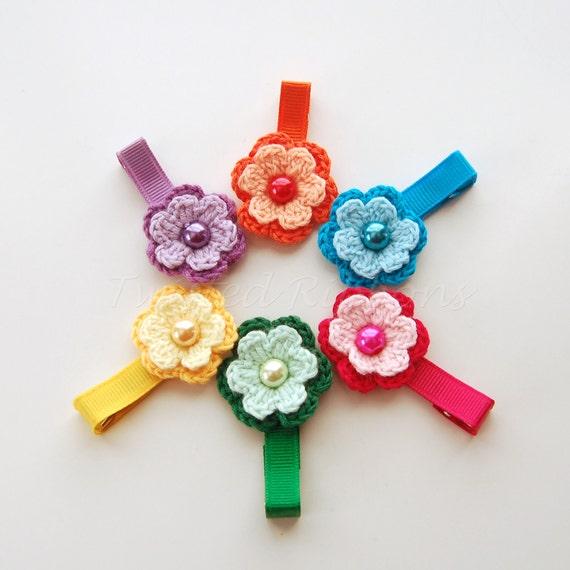 Crochet Flower Hair Clip 6 Piece Set Rainbow Colors