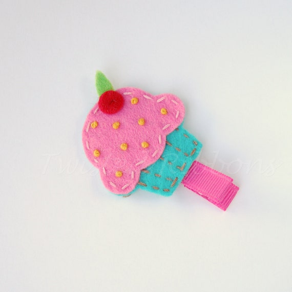 Cupcake Hair Clip Pink and Turquoise Felt Clippie