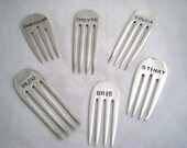 CHEESE MARKERS - 6 PC Stamped Silver Vintage Forks Upcycled / Recycled - Great Gift