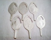 CHEESE MARKERS - 6 PC Vintage Spoon Upcycled / Recycled Stamped Silverplate Spoon - Great Gift