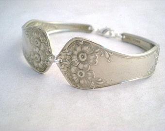 FLOWER 1906 Spoon Bracelet  Custom Free Engraving Wedding Bridesmaid Antique Upcycled Silverplate - Silverware Jewelry