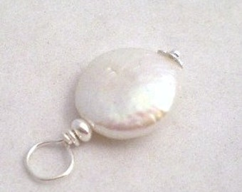 ADD A PEARL - Freshwater Pearl Coin Charm White / Irridescent