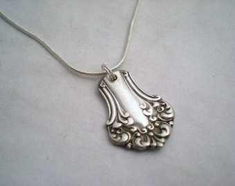 Spoon Pendant Necklace, FREE ENGRAVING,  Bridesmaid, Vintage Wedding, Silver Silverware Jewelry, AVON 1901