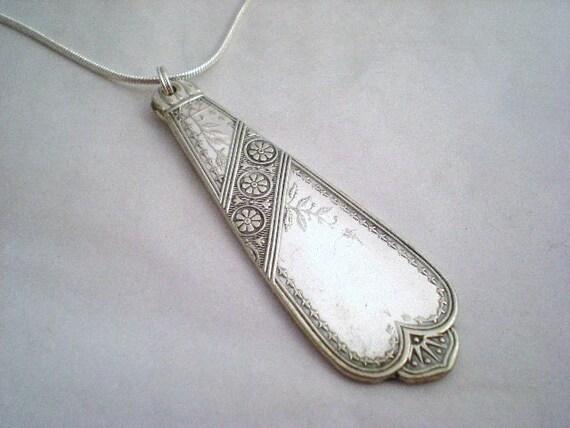 Spoon Pendant, Spoon Jewelry, Wedding Necklace, Silverware Jewelry, Silver Pendant CHICAGO 1879