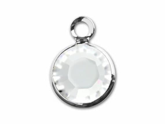 ADD A BIRTHSTONE - April Clear Crystal - Swarovski Channel Drop Crystal Charm 6MM