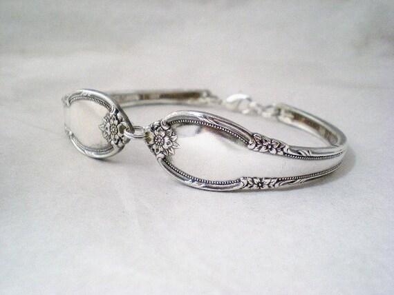 Spoon Bracelet, Silverware Bracelet, Vintage Silverware Jewelry, Vintage Wedding REMEMBERANCE 1948