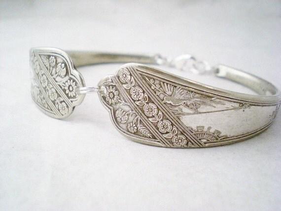 Spoon Bracelet, Victorian Bracelet, Antique Silverware Jewelry LYONNAISE 1879