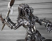 Metal Sculpture - Metal Spearman Hunter (Medium item)