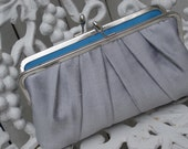 READY To SHIP: Silver Precious Pleat Kisslock Clutch