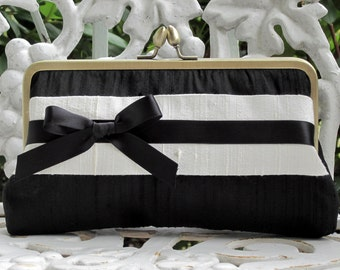 Banded Bow Kisslock: Bridal Clutch  Formal Purse
